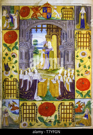 The royal family of Henry VII of England with Joachim and Anne meeting at the Golden Gate, illuminated page, 1503 - Stock Image