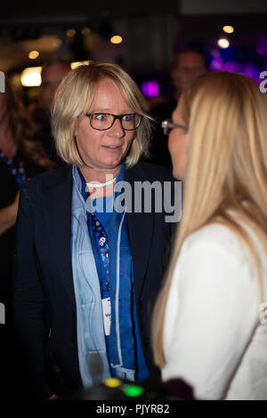 Stockholm, Sweden, September 9, 2018. Swedish General Election 2018.  Election Night Watch Party for Sweden Democrats (SD) in central  Stockholm, Sweden. Carina Herrstedt Ståhl (SD). Credit: Barbro Bergfeldt/Alamy Live News - Stock Image