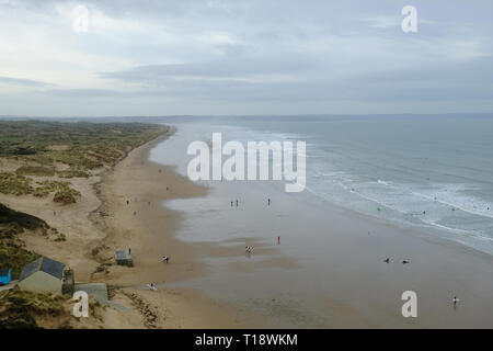 21 March 2019 - Saunton, Devon, UK. View of Saunton beach and the Braunton Burrows as seen from the Saunton Sands Hotel - Stock Image