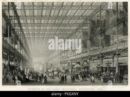 Interior of the Great Exhibition at the Crystal Palace at Hyde Park.     Date: 1851 - Stock Image