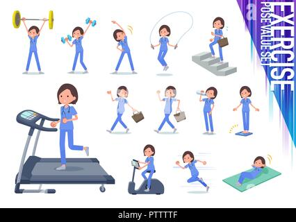 A set of Surgical Doctor women on exercise and sports.There are various actions to move the body healthy.It's vector art so it's easy to edit. - Stock Image