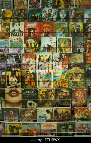 Bollywood film covers at a video store in India - Stock Image