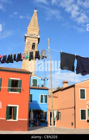 Leaning church tower Campanile San Martino, Burano island,Venice, Italy - Stock Image