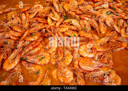 Seafood spicy shrimps stew background - Stock Image