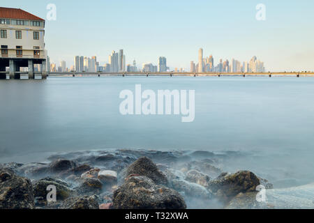 View of Casco Antiguo In Ciudad de Panama At Sunset - Stock Image