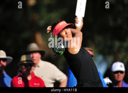 Rancho Mirage, California, USA. 2nd Apr, 2017. Michelle Wie on the 16th tee during the final round of the ANA Inspiration - Stock Image