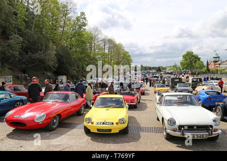 Jaguar E-Type, Ginetta G15 and MG MGB GT, British Marques Day, 28 April 2019, Brooklands Museum, Weybridge, Surrey, England, Great Britain, UK, Europe - Stock Image