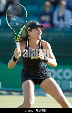 Johanna Konta (Jo Konta) prepares to play a shot during a singles match in 2018. Konta is a professional female tennis player representing the United Kingdom. - Stock Image