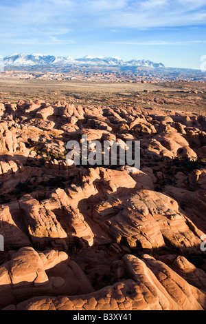 Aerial landscape of canyon in Arches National Park Utah United States - Stock Image