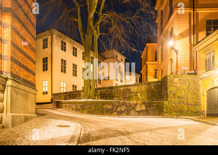 Tryckerigatan, a street on the island of Riddarholmen, Gamla Stan, the old town of Stockholm, Sweden. View SW to - Stock Image