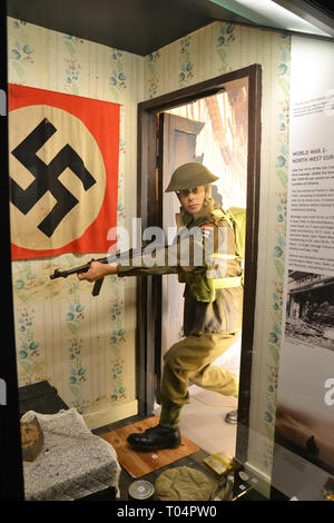 Scene from WWII, North-West Europe, Essex Regiment Museum, Oaklands House, Chelmsford, Essex, UK - Stock Image