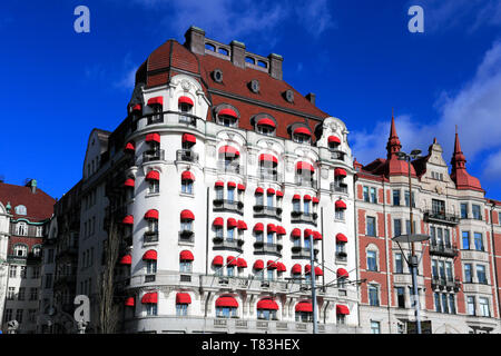 Buildings along the Strandvagern area of Stockholm City, Sweden, Europe - Stock Image