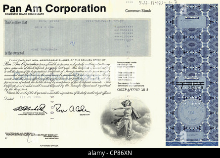 Historical stock certificate, American Airlines, Pan Am, Pan Am Corporation, 1990, Delaware, USA, Historische Aktie, - Stock Image