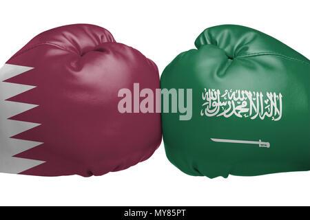 Close up of boxing gloves with Qatari and Saudi Arabian flag symbols isolated on white background - Stock Image