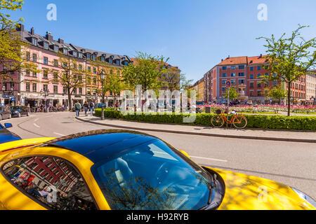 SPORTSCAR PORSCHE 911, GAERTNERPLATZ SQUARE, MUNICH, BAVARIA, GERMANY - Stock Image