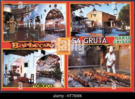 SPAIN, MALLORCA - CIRCA 1971: A postcard printed in Spain, Mallorca, shows the restaurant Sa Gruta in Porto Cristo, - Stock Image