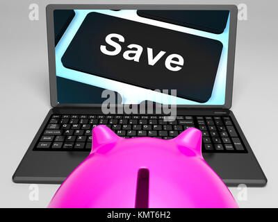 Save Key On Laptop Shows Promotional Prices And Discounts - Stock Image