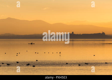 Beautiful view of Trasimeno lake (Umbria, Italy) at sunset, with orange tones, birds on water, a man on a canoe and Castiglione del Lago town on the background - Stock Image