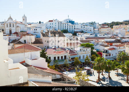 Albufeira, Portugal - May 2012: View of roof tops and main square, Albufeira, Portugal - Stock Image