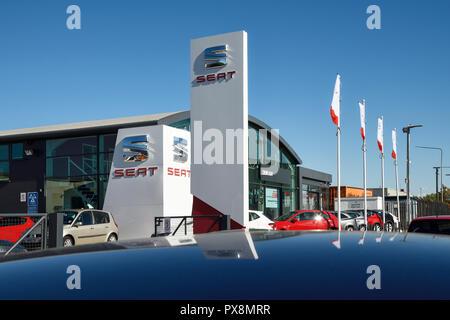 The Crewe SEAT car dealership on Third Avenue Crewe UK - Stock Image