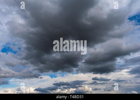 Dramatic rain storm clouds background - Stock Image