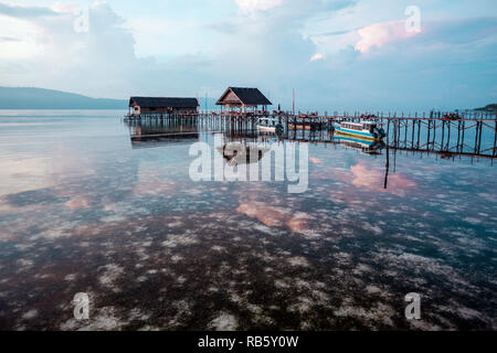 Jetty at morning, Raja Ampat, Indonesia - Stock Image