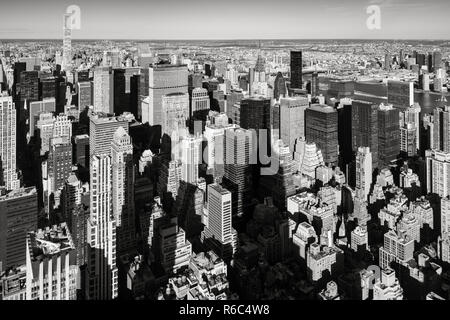 New York City aerial view of the skyscrapers of Murray-Hill Midtown Manhattan in Black & White - Stock Image