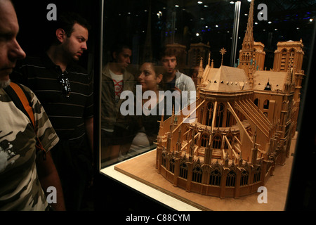 Wooden scale model of the Notre Dame de Paris inside the cathedral in Paris, France. - Stock Image