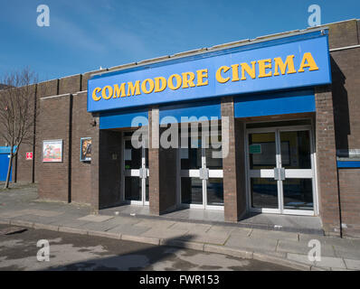 Commodore Cinema entrance doors, Aberystwyth, Wales UK. - Stock Image