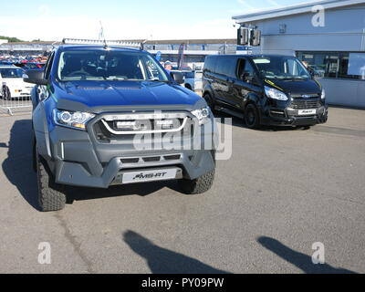 Ford Ranger pick up truck and transit van special MSRT Msport rally team editions shown at donnington park race circuit at the RS owners club national day 2017 - Stock Image