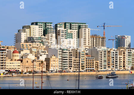 Building works on high rise hotels and apartments, Sliema, Valletta, Malta - Stock Image