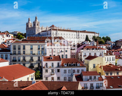 View towards the Monastery of Sao Vicente de Fora, Miradouro das Portas do Sol, Alfama, Lisbon, Portugal, Europe - Stock Image