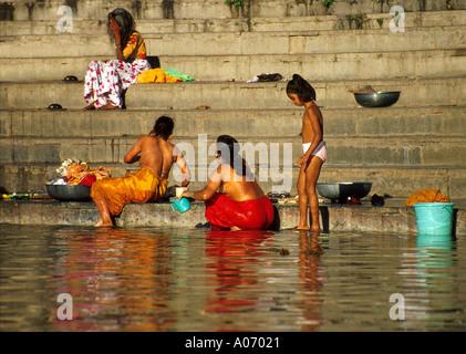 Women and Girl Bathing, Lake Pichola, Rajasthan, India - Stock Image