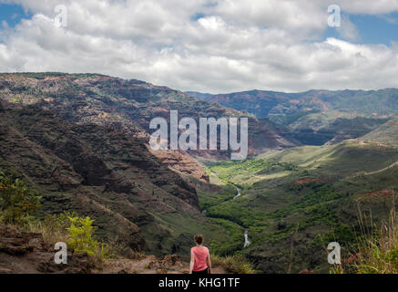 Teen girl at a Waimea Canyon viewpoint - Stock Image