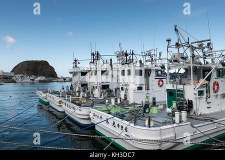 Fishing fleet at Otaru Port, Shiretoko National Park, Hokkaido Japan. - Stock Image