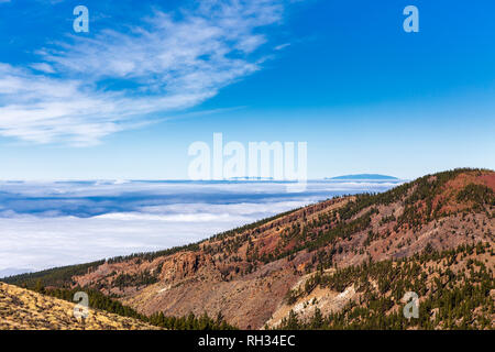 Looking west over the cloud inversion layer from the Las Canadas del Teide national Park with the two mounds of La Palma protruding, Tenerife, Canary  - Stock Image