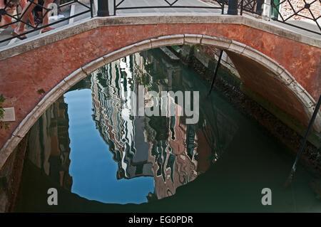 Reflections under bridge or Ponte Duodo o Barbarigo over Rio Santa Maria Venice Italy - Stock Image