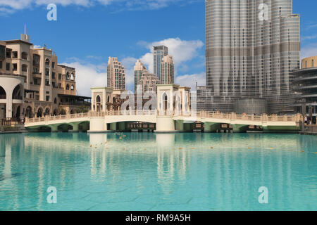 Dubai, United Arab Emirates - September 9, 2018: The Downtown Dubai complex in Dubai, UAE, is home to some of the city's most important landmarks incl - Stock Image