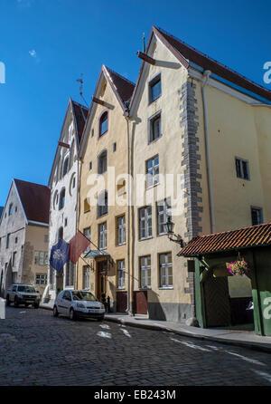 group of medieval buildings in Tallinn old town, Pikk Street, 'Three Sisters'. - Stock Image