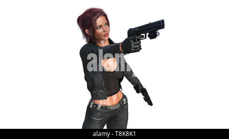 Action girl shooting guns, redhead woman in leather suit holding hand weapons on white background, 3D rendering - Stock Image