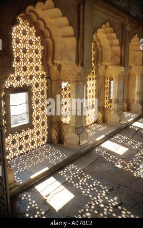 Carved Windows Amber Fort, Rajasthan, India - Stock Image