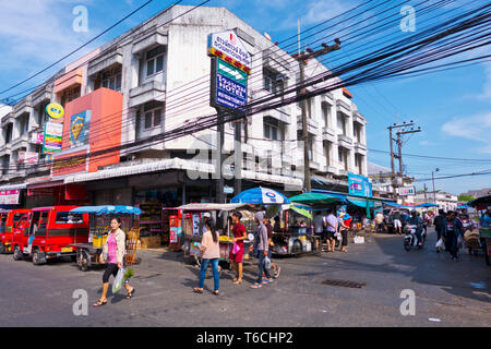 Ranong Road, in front of central market, old town, Phuket town, Thailand - Stock Image