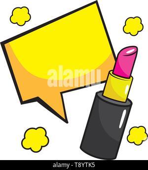 lipstick with speech bubbles pop art comic cartoon vector illustration - Stock Image