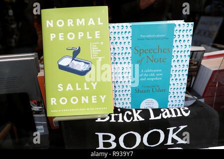 'Normal People' by Irish author Sally Rooney in Brick Lane Book Shop window East London UK  KATHY DEWITT - Stock Image