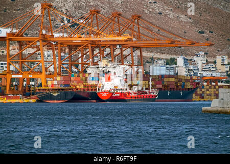 Container ship HMC Frederica being fuelled at the container port port in Piraeus Athens Greece Europe - Stock Image