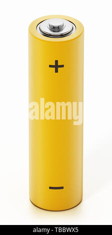 Generic AA battery isolated on white background. 3D illustration. - Stock Image