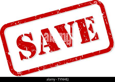 Save red rubber stamp vector isolated - Stock Image