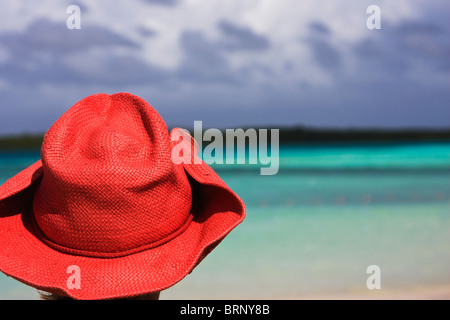 graphic image of red cowboy hat overlooking the Caribbean sea, Bonaire, NA - Stock Image