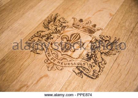 Wine box with crest of Château de Meursault, Route des Grands Crus Burgundy France - Stock Image