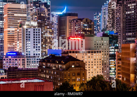 Sydney architecture by night. - Stock Image